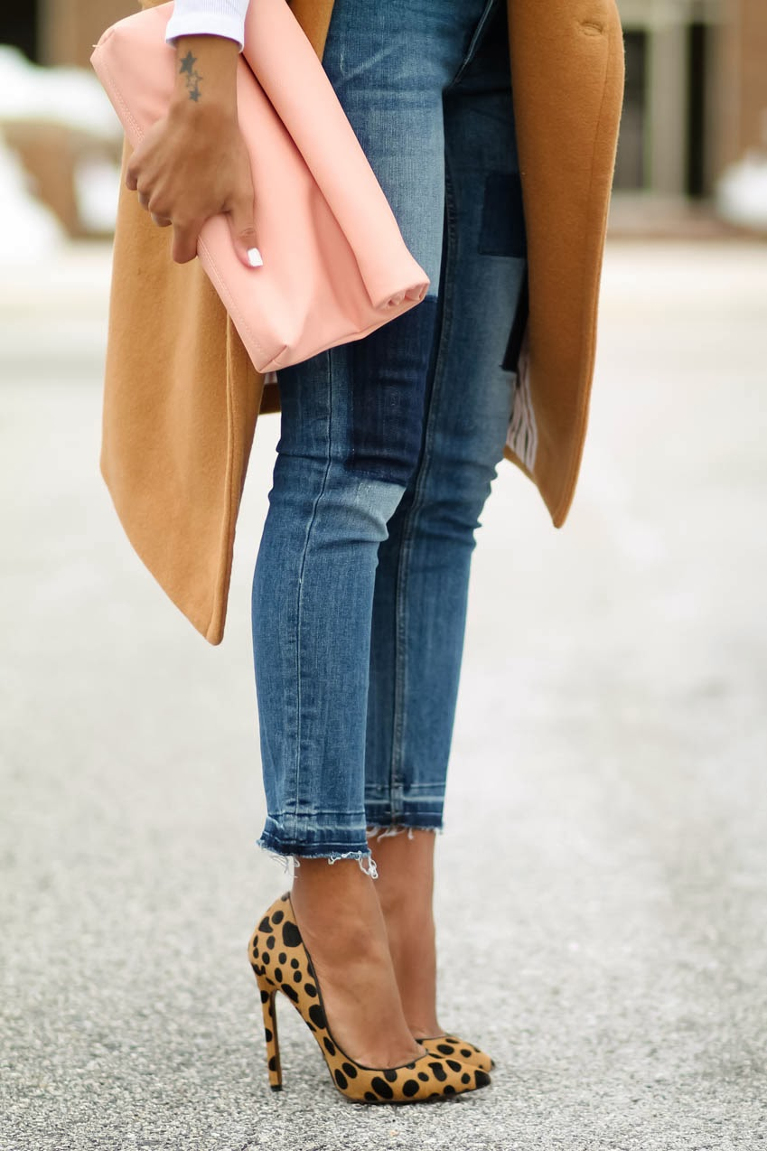 The Daileigh Wearing Camel Coat, H&M Jeans, And Lauren Marinis Shoes