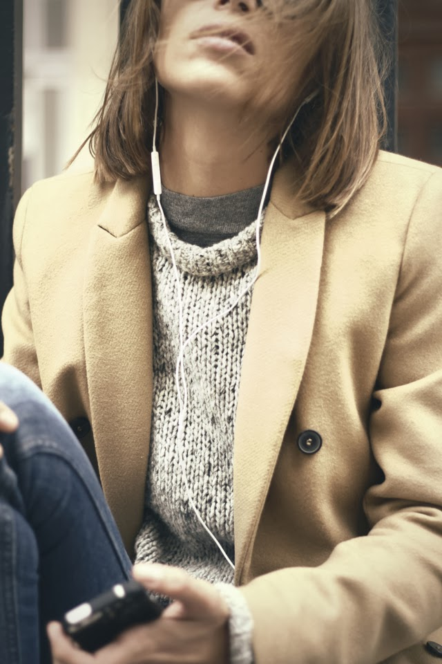 Arty Filles Wearing Camel Coat And Top By Zara, Jumper By COS