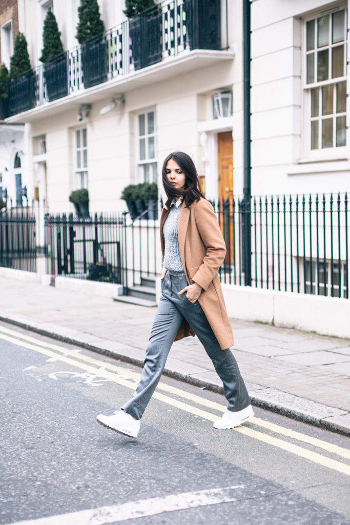 Doina Is Wearing Shirt From Addison, Jumper From Aber Crombie & Fitch, Suit Pants From Escada, Air Max Trainers From Nike and Camel Coat From MaxMara Coat