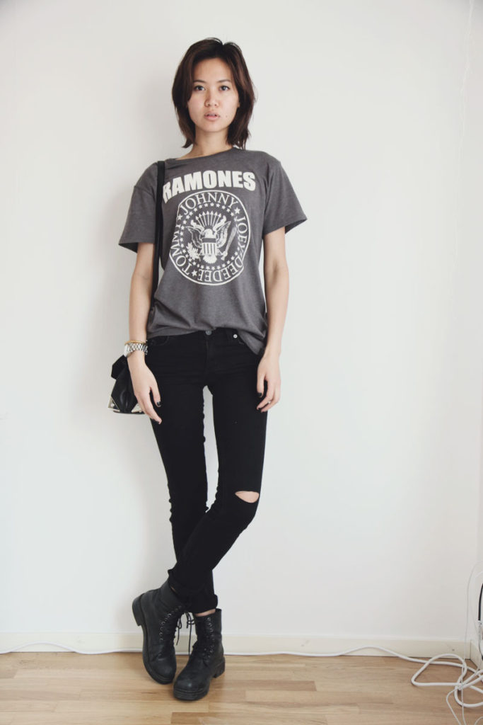 Miuccia In Simple Rock Chick Look With T-Shirt And Distressed Jeans From Cubus Bag From Alexander Wang And Boots From Vagabond