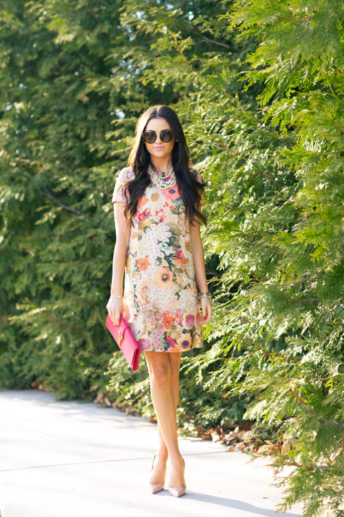 Pink Peoni Is Wearing Floral Dress And Sunglasses From Tory Burch, Clutch From Saint Laurent , Shoes Christian Louboutin