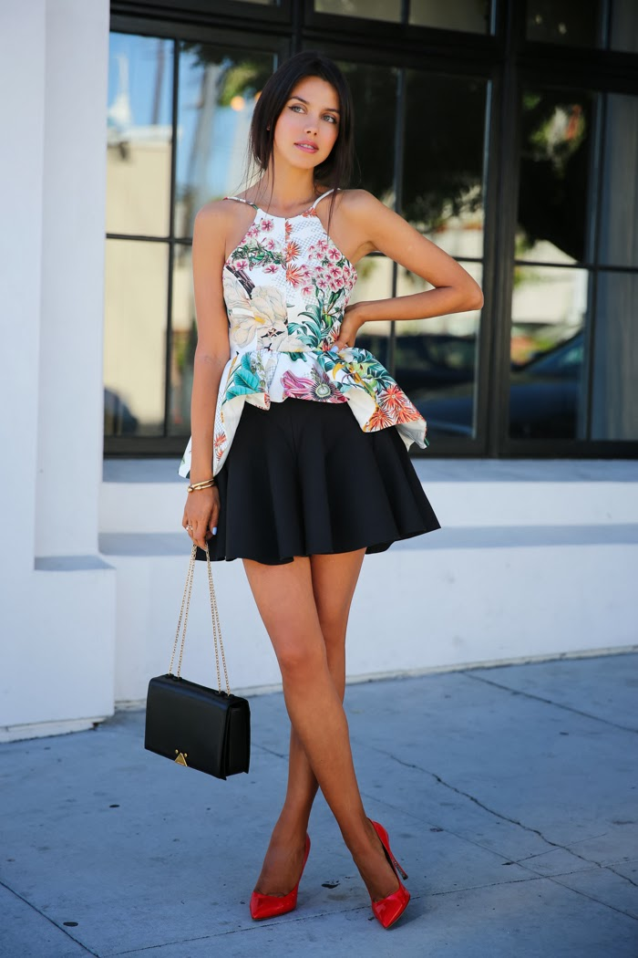 Floral Fashion Trend: Viva Luxury Wearing Cameo Mad World Skirt, Winter Wind Floral Top, Emporio Armani messenger bag