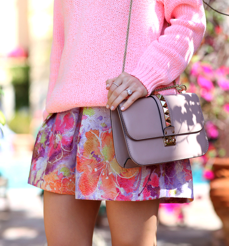 The Brooklyn Blonde Is Wearing T by Alexander Wang Sweater, Floral Skirt From ASOS, And Handbag From Valentino
