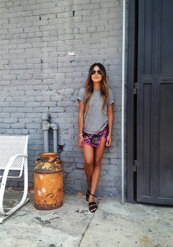 Sincerely Jules Wearing Tee From Civilianaire, Floral Skirt From Nanette Lepore And Sandals From Zara