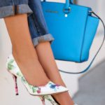 Annabelle Fleur In Michael Kors Selma top-zip satchel And Dolce & Gabbana Floral Print Pumps