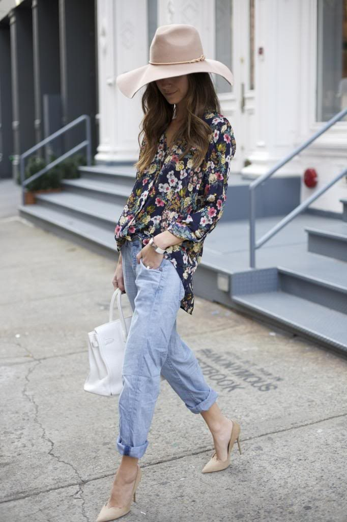 Arielle Nachami is wearing jeans from Citizens of Humanity, shoes from Jimmy Choo, bag from Hermes, top from Petal Party and the hat os from