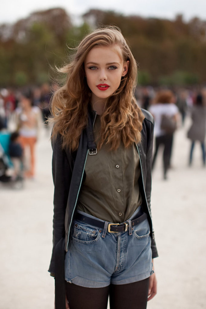 Frida Gustavsson In Leather Jacket, Denim Jeans and Military Green Shirt