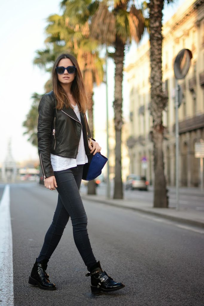 Fashion Blogger FashionVibe Wearing Leather Jacket, Jeans And Tee From JBrand, Balenciaga Shoes, Celine Bag And Sunglasses From Marc Jacobs