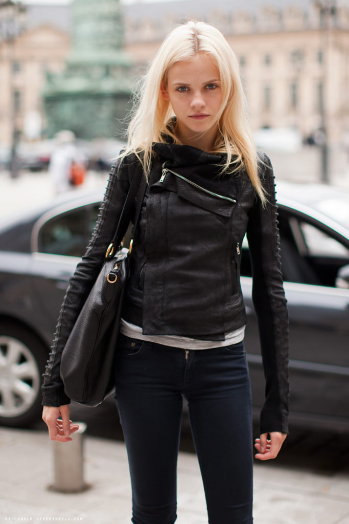 Ginta Lapina Wearing Rick Owens Biker Leather Jacket