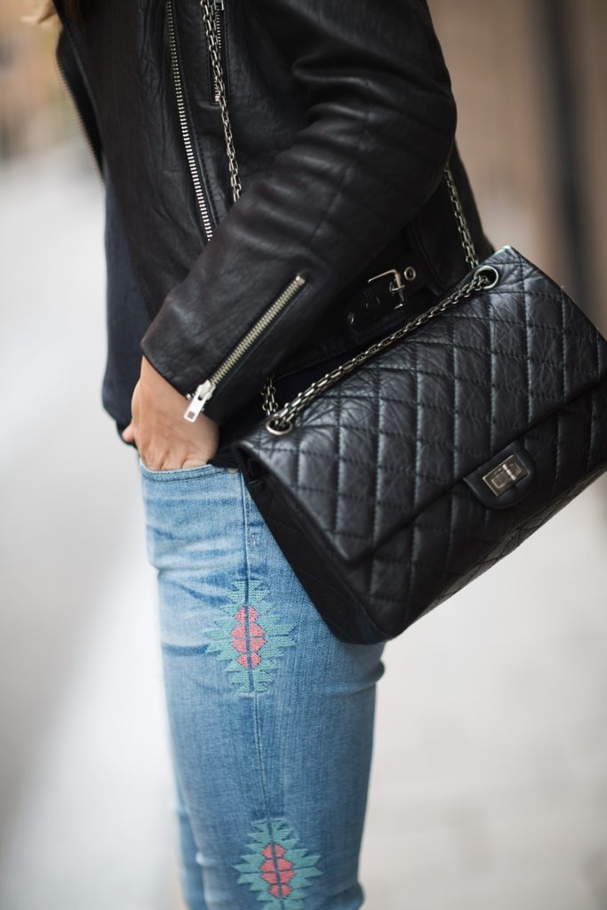 Leather Jacket From Rika/Skindeep, Jeans from AG Adriano Goldschmied, Bag From Chanel. Via Carolines Mode