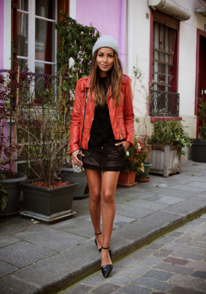 Sincerely Jules Wearing Red Leather Jacket And Skirt From Maje, Shoes From Alexander Wang