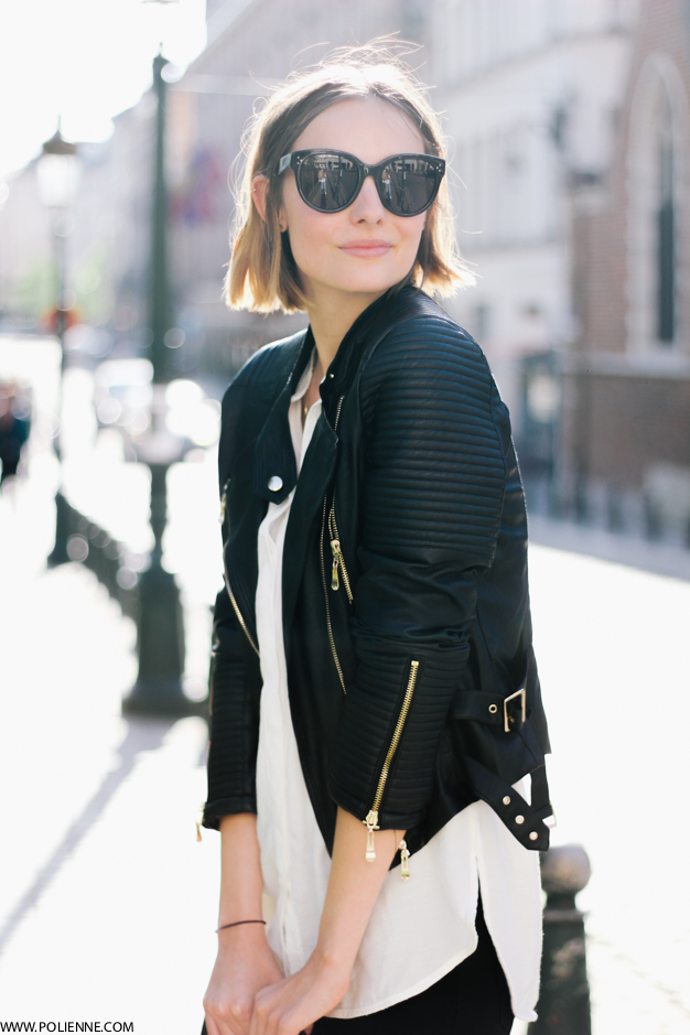 Paulien Is Wearing A Biker Jacket From Loavies, White Shirt From H&M And Sunglasses From Celine