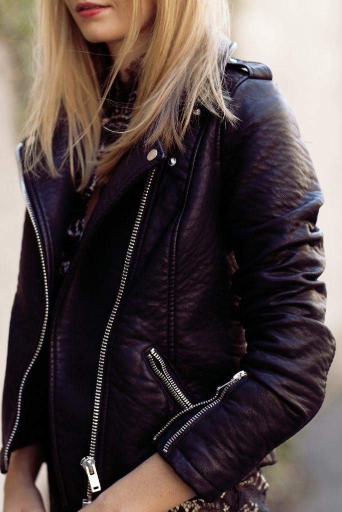 Tuula Vintage Is Wearing A Biker Leather Jacket From River Island