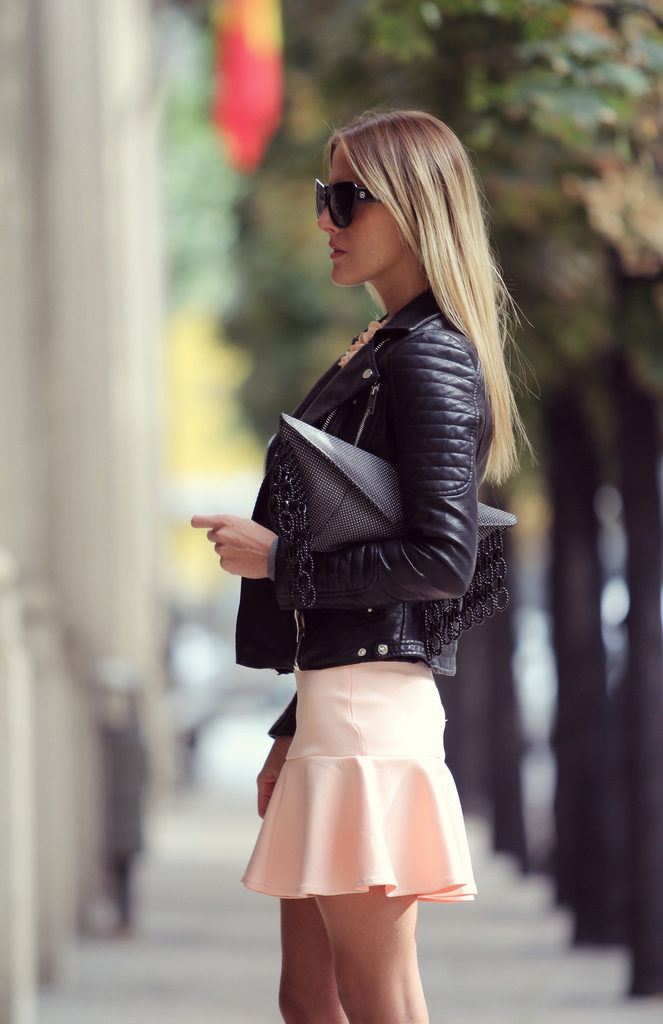 Victoria Kemerer Is Wearing A Black Biker Jacket, Skirt From Primkie, Jumper From Zara