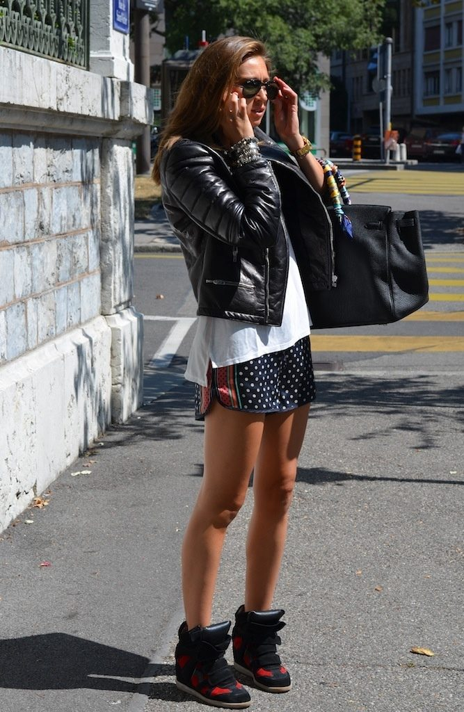 Valeria Wearing Joseph Leather Jacket And Isabel Marant Sneakers