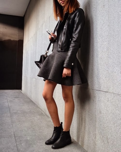 Leather Jacket And Grey Dress Unknown Model/Photographer