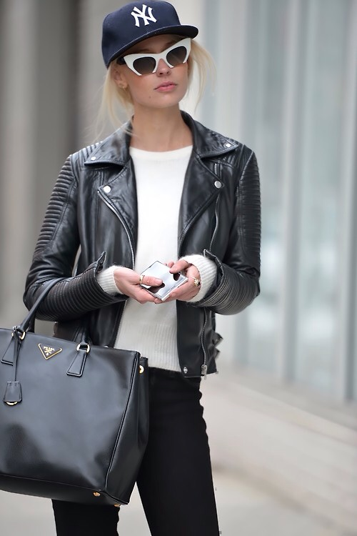 Leather Jacket Street Style Via Neiman Marcus