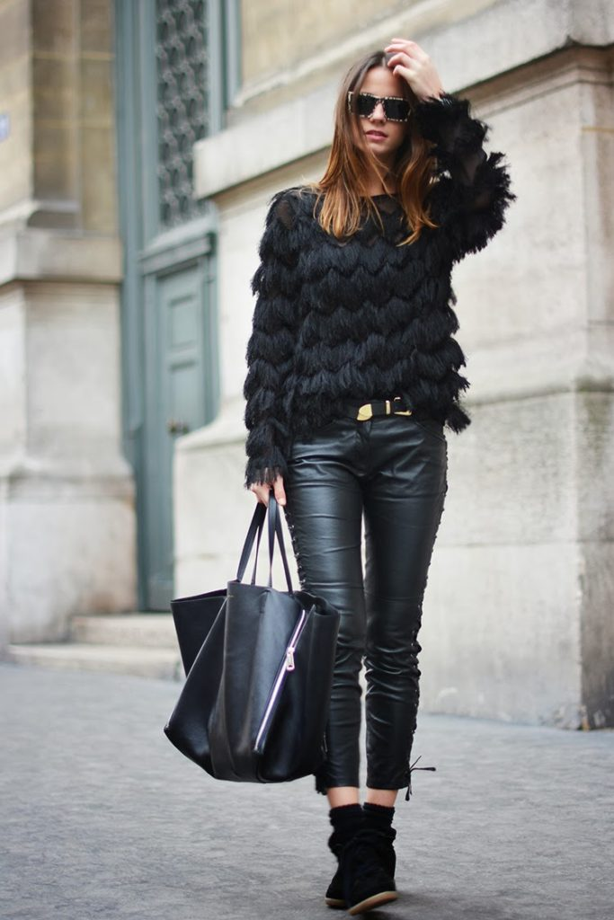 Fashion Vibe In Zara Top And Isabel Marant Leather Trousers And Sneakers And Bag From Ceiline