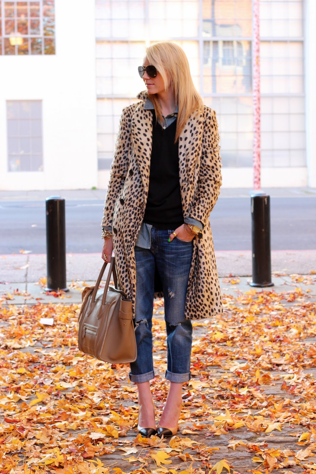 Blair Eadie In Leopard Print Jacket From Malene Birger, Denim Jeans From Current/Elliott, Shirt And Sweater From JCrew, And Burberry Sunglasses