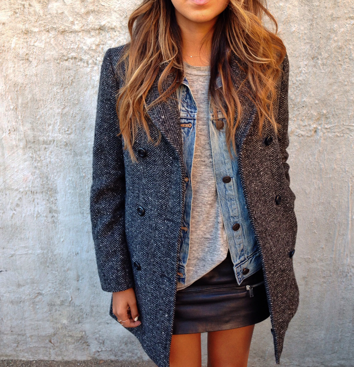 Sincerely Jules In Mini Leather Skirt From Zara, The Coat Is From Benetton And Denim Jacket From J Crew