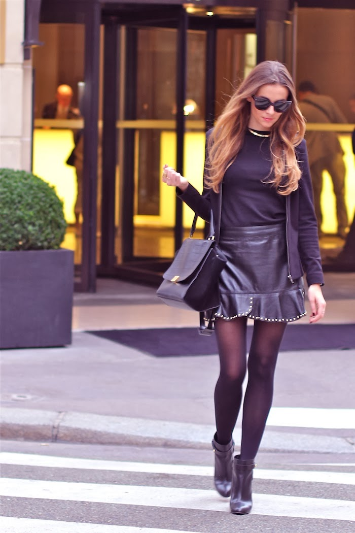 Manon Is Wearing A Black Mini Leather Skirt From Zara Bag From Celine And Sergio Rossi Boots