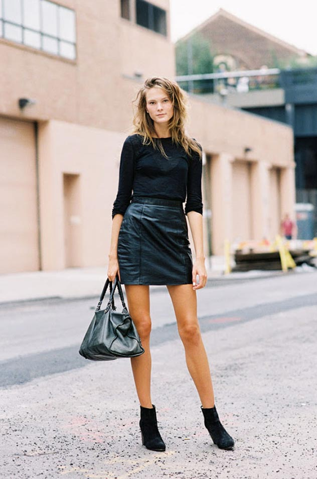 All Black Leather Mini Skirt Photography By Vanessa Jackman