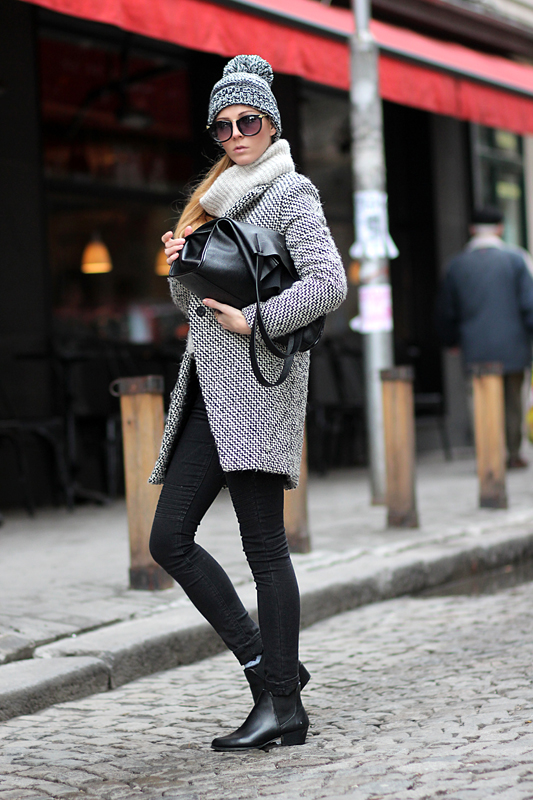 Sirma Markova Going Monochrome Coat And Beanie Street Style March 2014