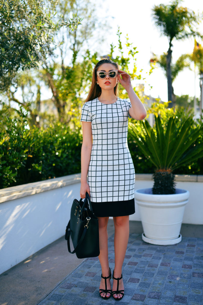 Kayture Wearing A Monochrome Look, Dress, Shoes And Bag From Hugo Boss, And Sunglasses From Céline