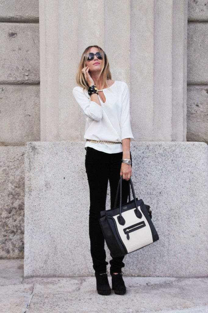 Virginia Varinelli In Monochrome Look Wearing, Jeans From Jbrand, Shirt From Zara, Sunglasses From Yves Saint Laurent and Bag From Celine