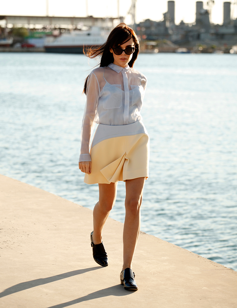 Style Heroine Wearing Burberry Prorsum Shirt, Miu Miu Skirt And Jimmy Choo Waffle Loafers And Sunglasses
