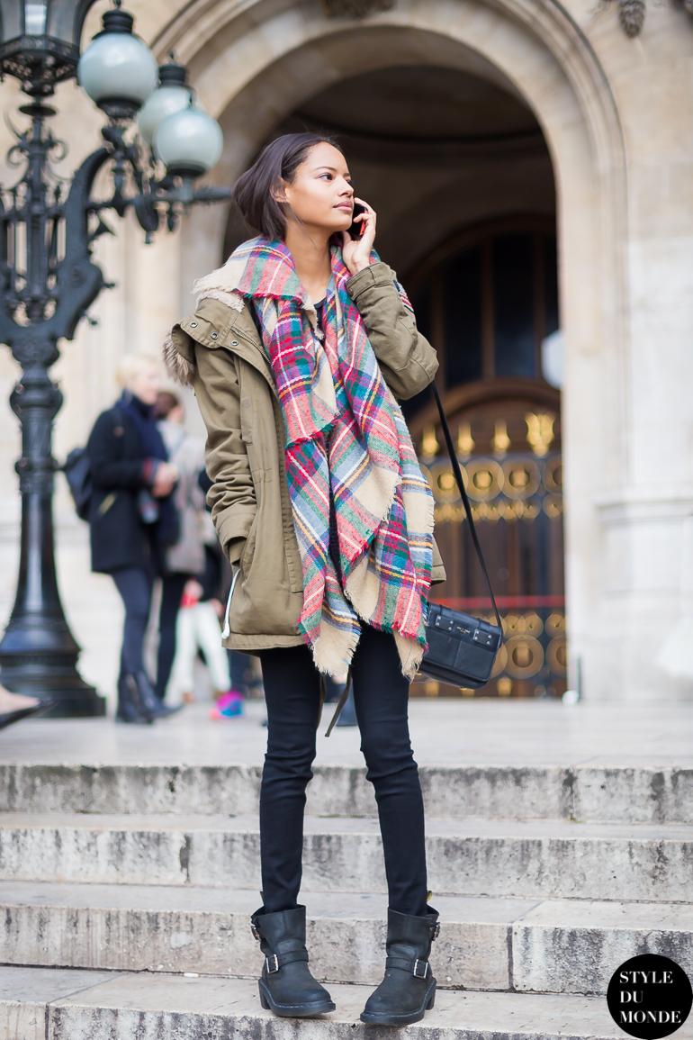 Model Off Duty Malaika Firth, After The Stella McCartney Fashion Show: Army Parka, Tartan Scarf And Black Skinny Jeans