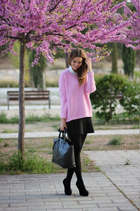 Lady Framboise Wearing Pink Top, Black Skirt And Bag From Zara, Shirt From SUITEBLANCO, Shoes From Tino Gonzalez