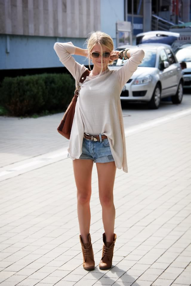 Adela Chloe Wearing Top From H&M, Bag From Kadiou, Denim Shorts And Chanel Sunglasses