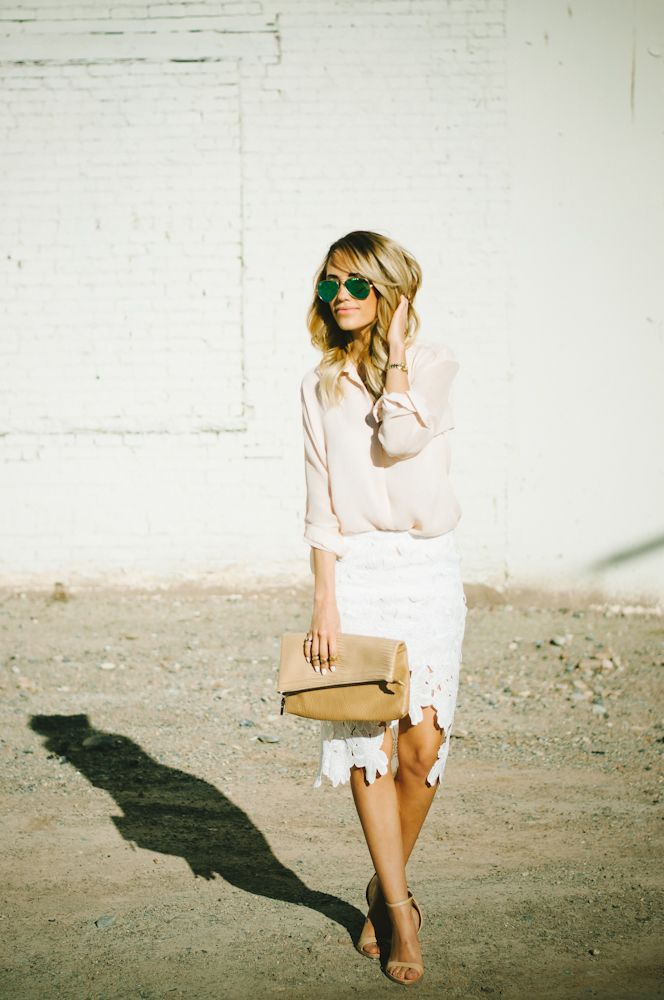 Styled Avenue Wearing Top From TopShop, Skirt From Chicwish, Clutch From Nordstrom, Sunglasses From Ray Ban
