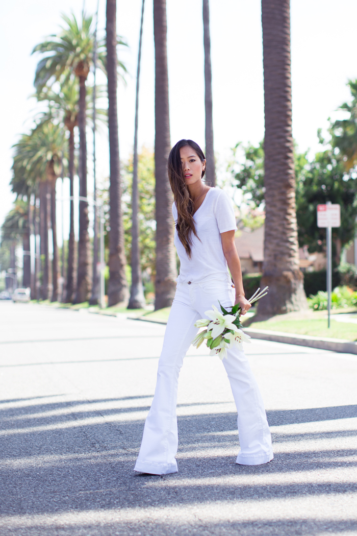 Song Of Style Wearing White T-Shirt, White Flare Jeans