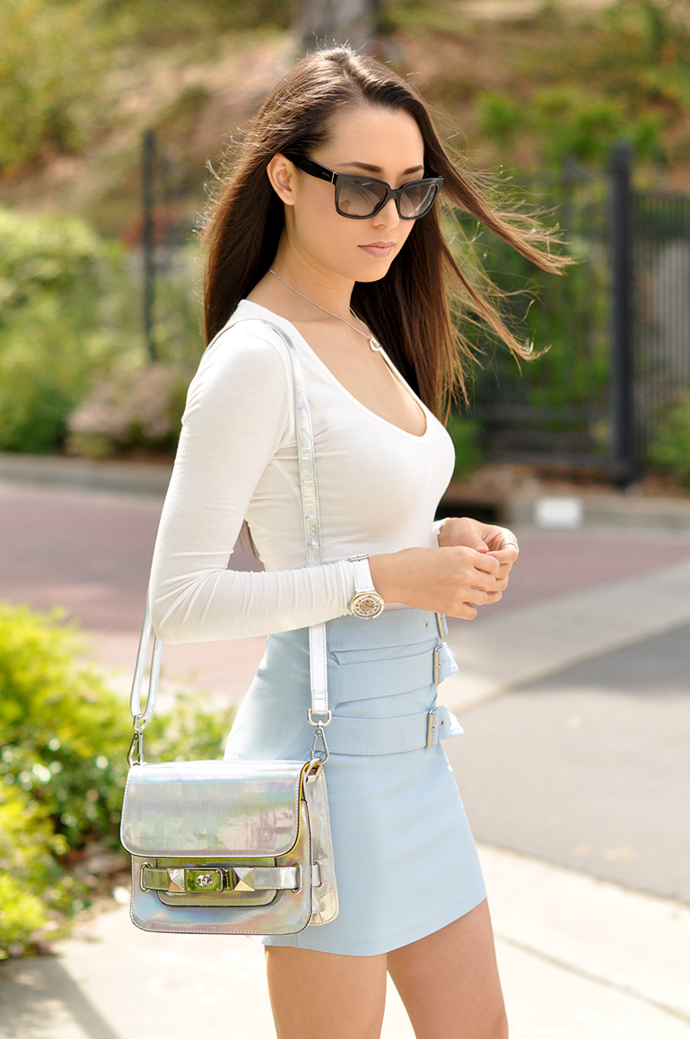 Hapa Time Wearing NastyGal Rock Candy Pale Blue Skirt, Shoes From Cordoba Pump, Satchel From DailyLook And Boohoo Long Sleeve V Neck Bodysuit