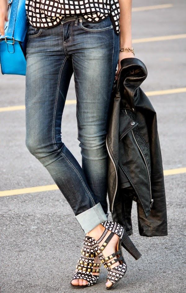 Cleverly Yours Wearing Black And White Chequered Top From J.Crew, G Star Raw Jeans, Not Rated Shoes, Missguided Bag And Nastygal Leather Jacket