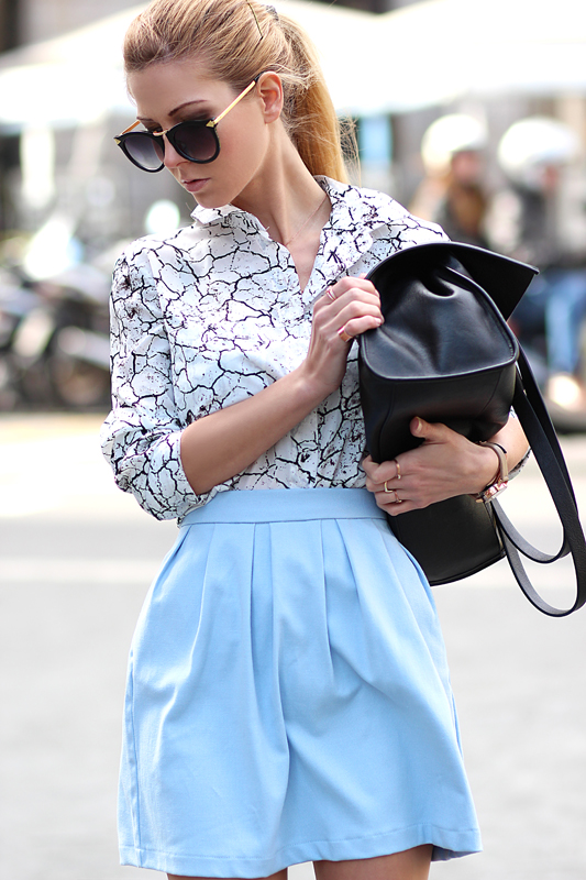 Sirma Markova Wearing Crack Effect Shirt From Choies, Skirt From Stradivarius And Bag From Bershka