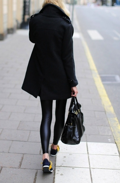 Shiny Black Leggings And Emerson Fry Charcoal Wool Coat