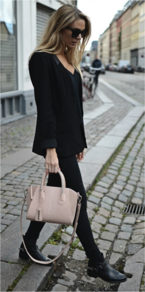 Tina Maria Is Wearing Blazer From Vero Moda, Top From American Vintage, Jeans From Five Units, Boots From Bianco, Bag From Leowulf And Sunnies From Gina Tricot