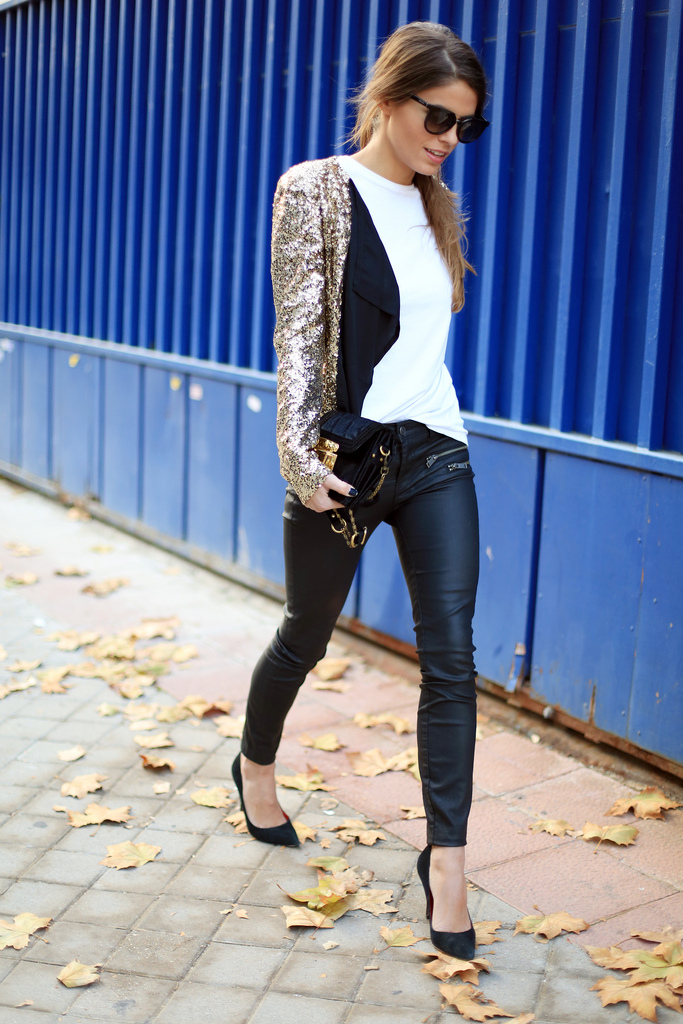 Seams For Desire Wearing Sequin Jacket From Mickey's Girl, Jeans From Zara And Shoes From Primark