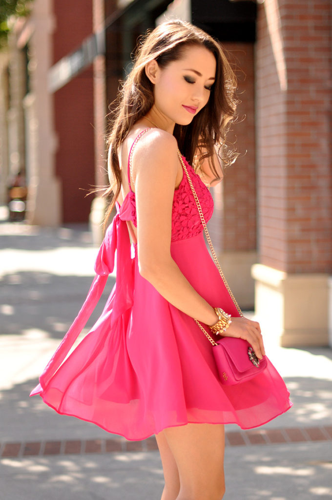HapaTime Wearing Pink Dress From The Flaunt Shop, Bag From Juicy Couture