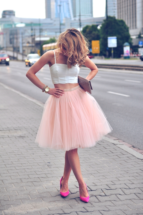 Pink Tulle Skirt And White Crop Top, Via Make Life Easier