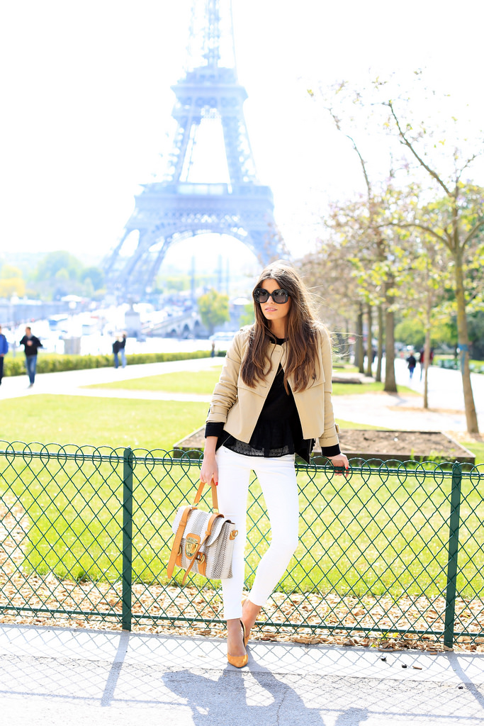 Seams For Desire Is Wearing Jacket From H&M, Top From Great Company, White Jeans From Zara, Shoes From Mas34, Bag From Su-Shi And Sunnies From Emporio Armani