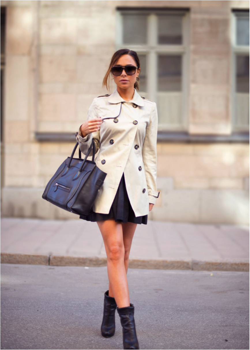 Johannaeo Is Wearing Trenchcoat From Lara Clement, Shoes From Max Kibardin, Skirt From H&M, Sunglasses From YSL And Bag From Celine