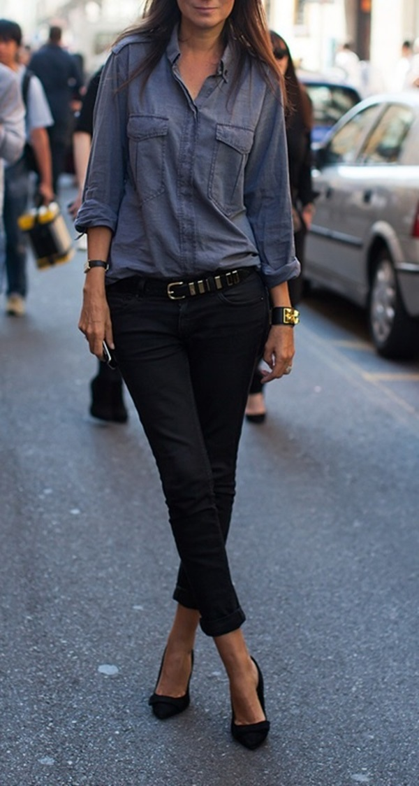 Emmanuelle Alt Wearing Black Jeans And Shoes Grey Blue Shirt