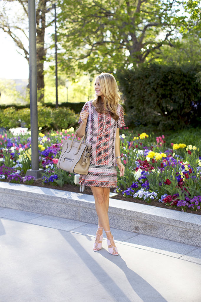 The Ivory Lane Is Wearing Dress From J.Crew, Sandals From Alexander Wang And Bag From Celine
