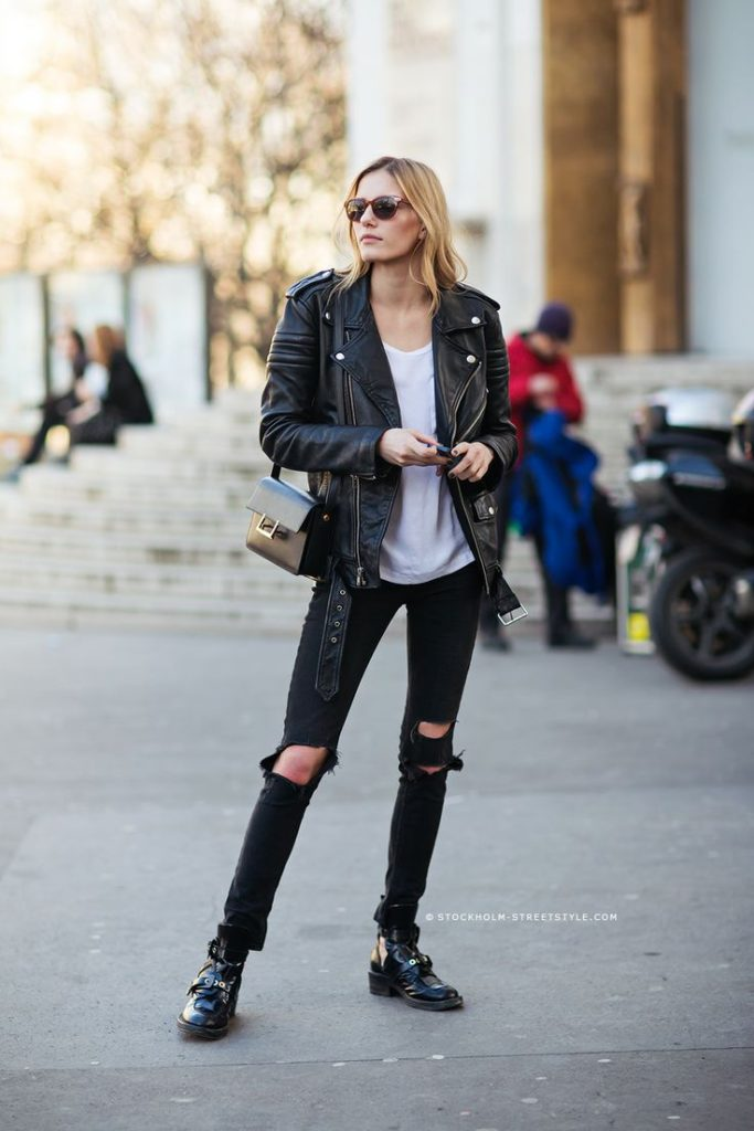 Marique Schimmel For Stockholm Street Style. Check Out That Leather Jacket