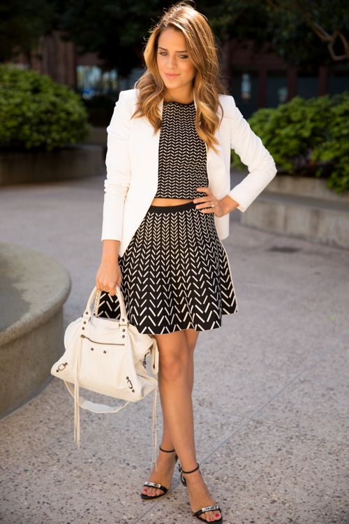 Gal Meets Glam Wearing Blazer From Theory, Chevron Top And Skirt From Ohne Titel , Shoes From Proenza Schouler And Bag From Balenciaga Bag