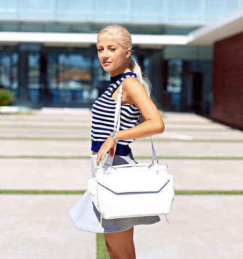 Evelina Barry is Wearing A Striped Top, Skater Skirt, Bag And Shoes, All From Forever21